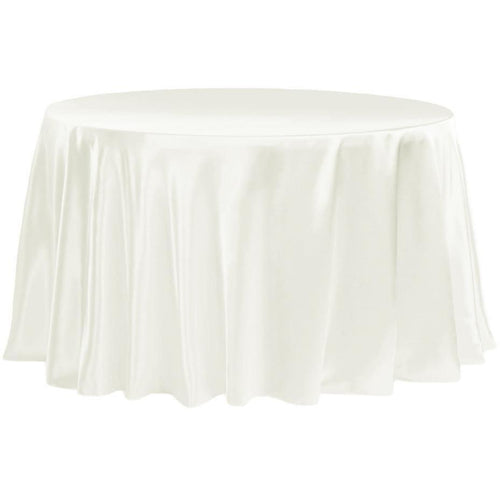 Satin 132 Round Tablecloth - Ivory Hire | LANE 88