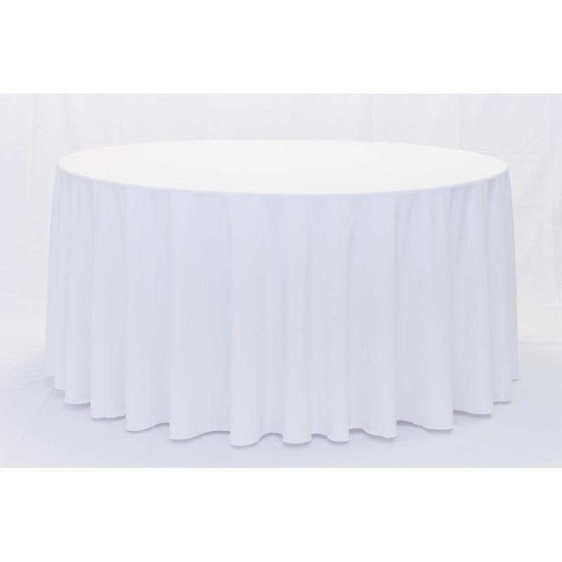 White 132 Round Tablecloth Hire | LANE 88