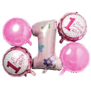 Foil Balloons 1st Birthday Girl with Butterfly Print