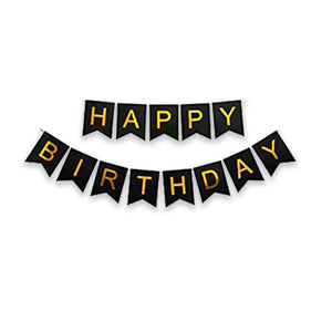 Happy Birthday Banner with Gold Print (Big)