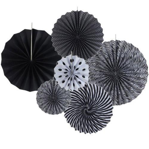 Paper Rosette Black (Set of 6 pcs)