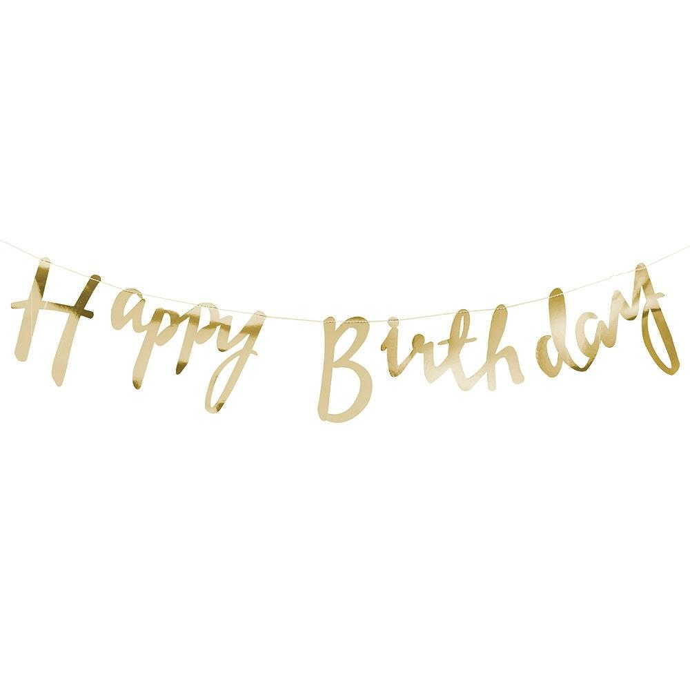 Happy Birthday Banner Script Cut Out - Gold
