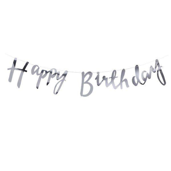 Happy Birthday Banner Script Cut Out - Silver
