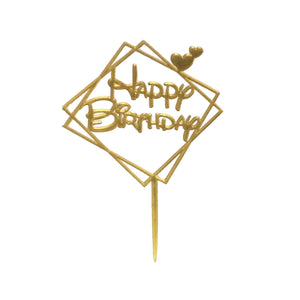Happy Birthday Cake Topper Geometric with Hearts - Gold