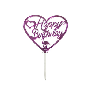 Happy Birthday Cake Topper Flamingo Heart - Pink
