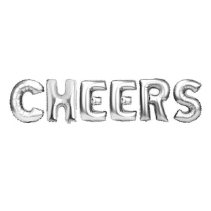 "Silver Balloon Set: ""Cheers"""