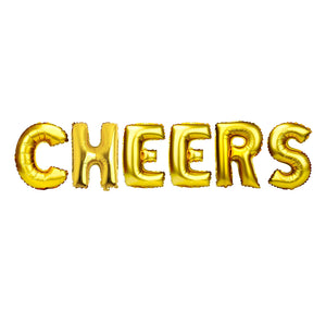 "Gold Balloon Set: ""Cheers"""