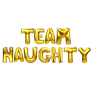 "Gold Balloon Set: ""Team Naughty"""