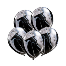 "Load image into Gallery viewer, Marble Balloon 12"" Black (5 pcs)"
