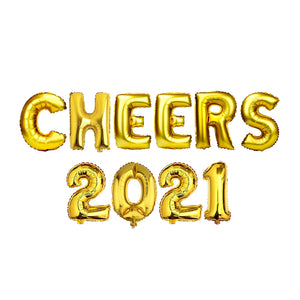 "Gold Balloon Set: ""CHEERS 2021"""