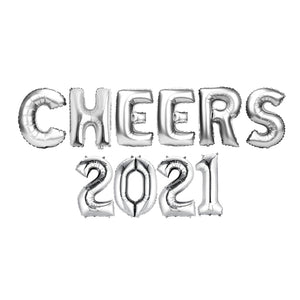 "Silver Balloon Set: ""CHEERS 2021"""