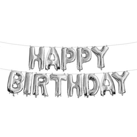 Foil Balloons Happy Birthday Plain Pack (Silver)