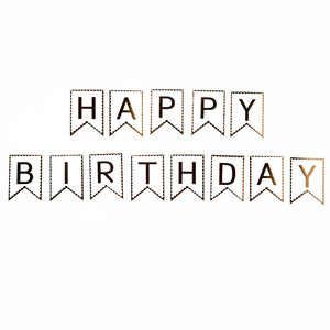 Happy Birthday Banner with Gold Print (Small)