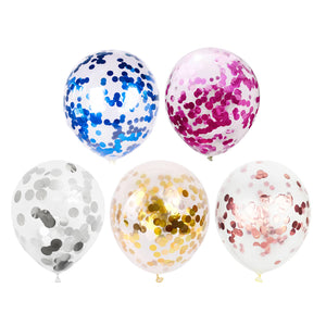 "Transparent Balloon with Confetti 12"" (5 pcs)"
