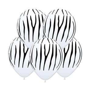 "Animal Print Balloons - Zebra 12"" (5 pcs)"