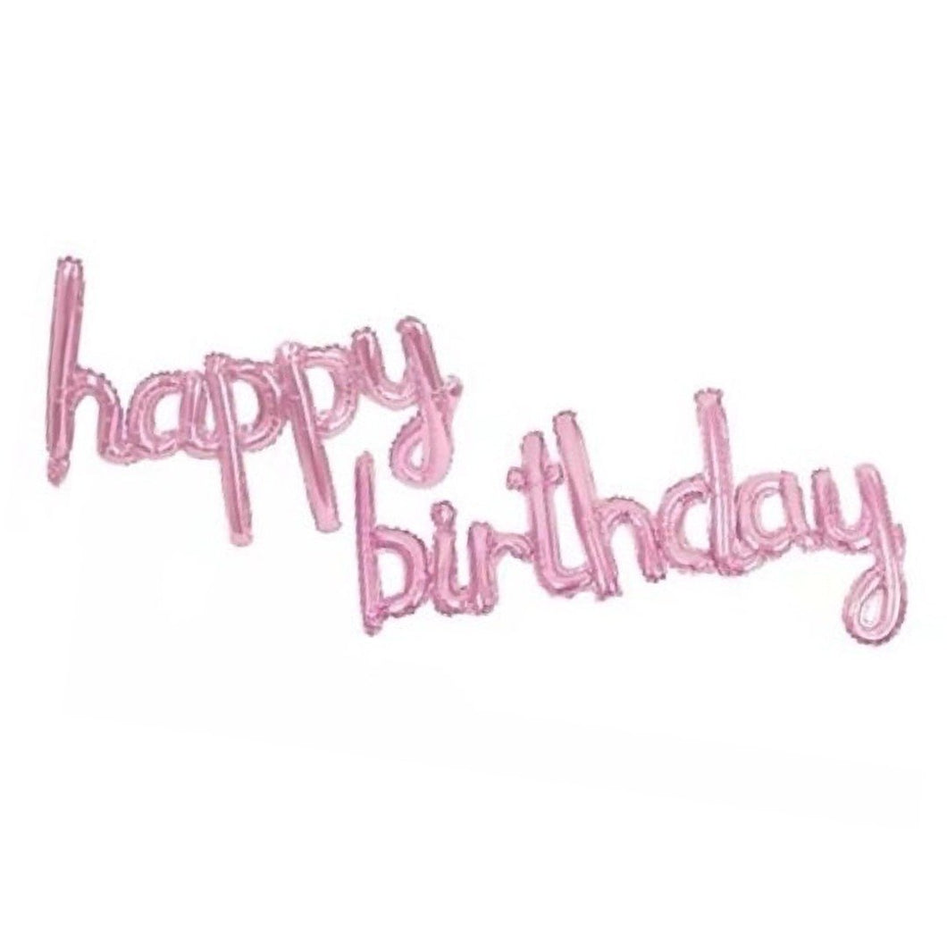 Foil Balloons Happy Birthday Cursive Pack (Light Pink)