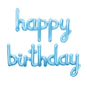 Foil Balloons Happy Birthday Cursive Pack (Light Blue)