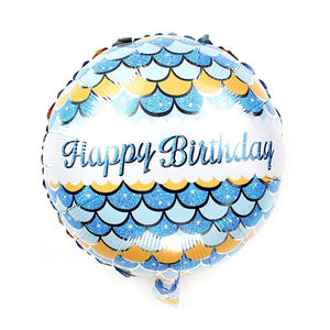 Foil Balloon Round - Happy Birthday Blue Mermaid