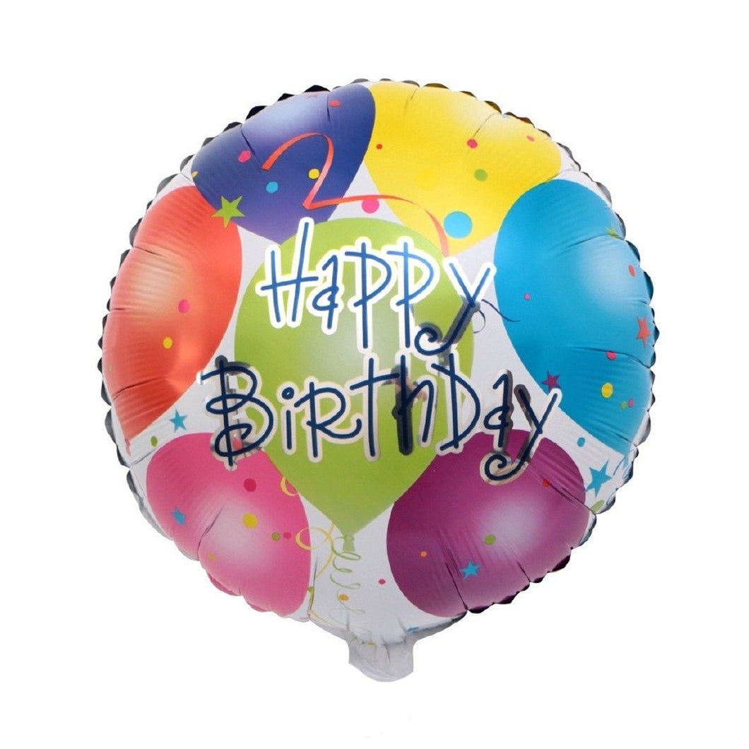 Foil Balloon Round - Happy Birthday Balloon Design