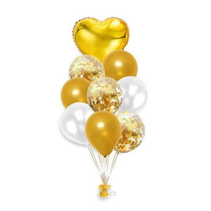 Balloon Set - Heart with Confetti Balloons Gold (9 pcs)