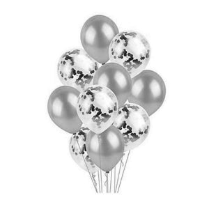 "Balloon Set - Metallic and Confetti 12"" (10 pcs)"
