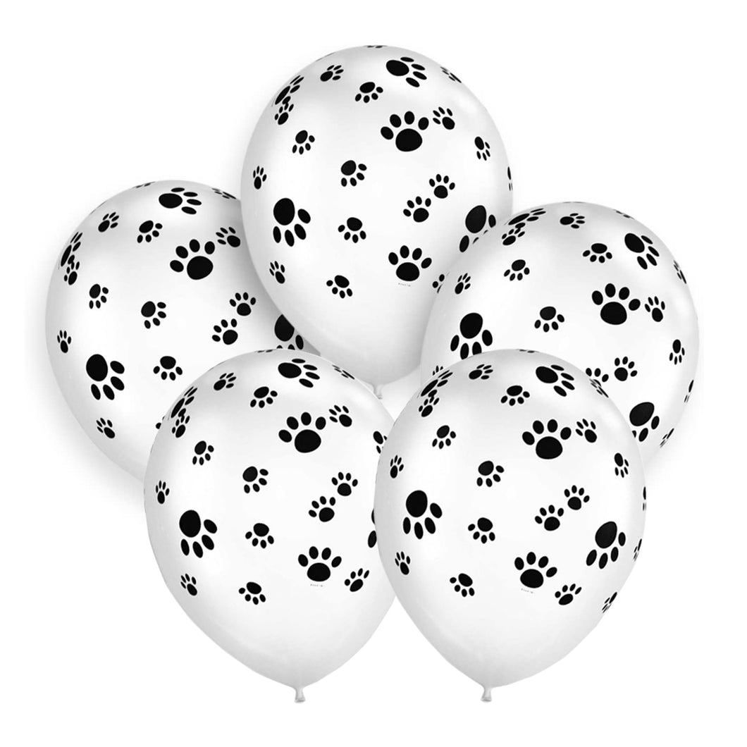 Paw Print White Metallic Balloon 12