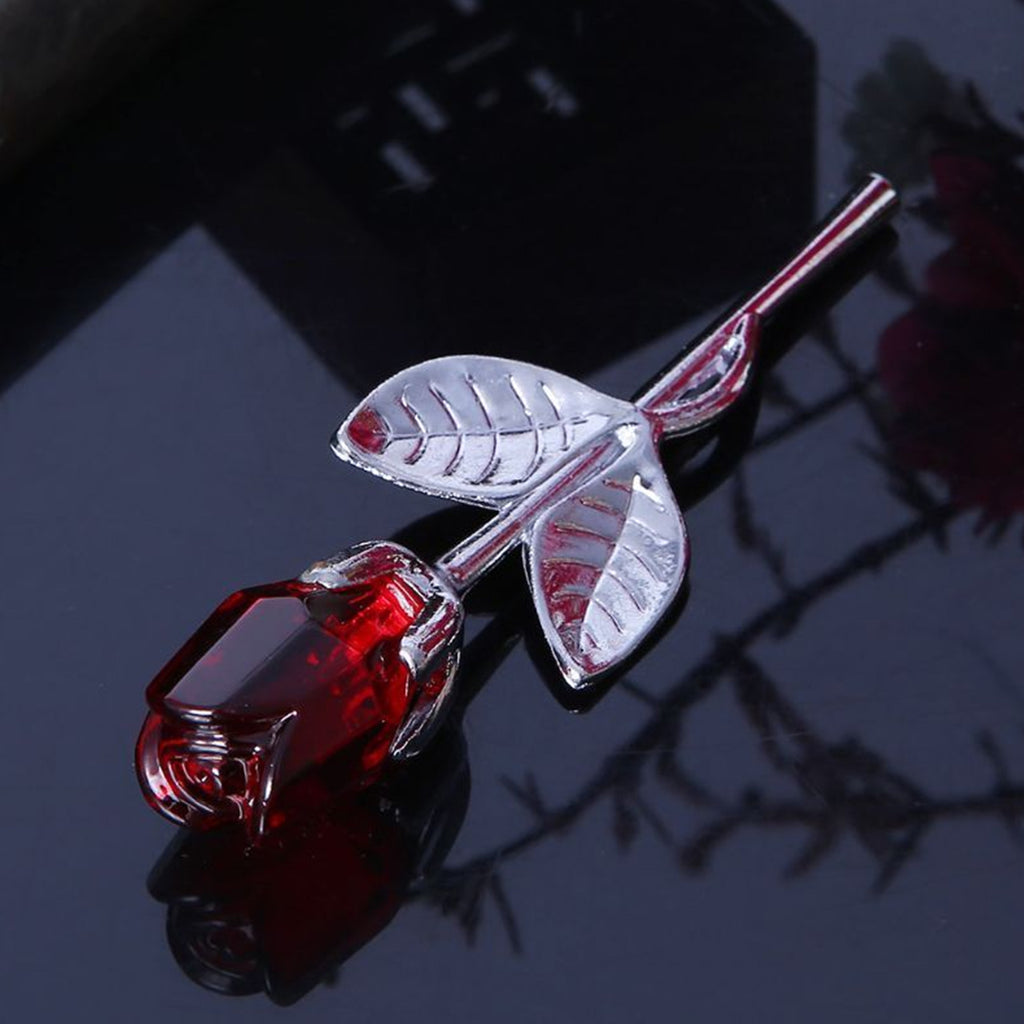 Mini Crystal Red Rose - Silver