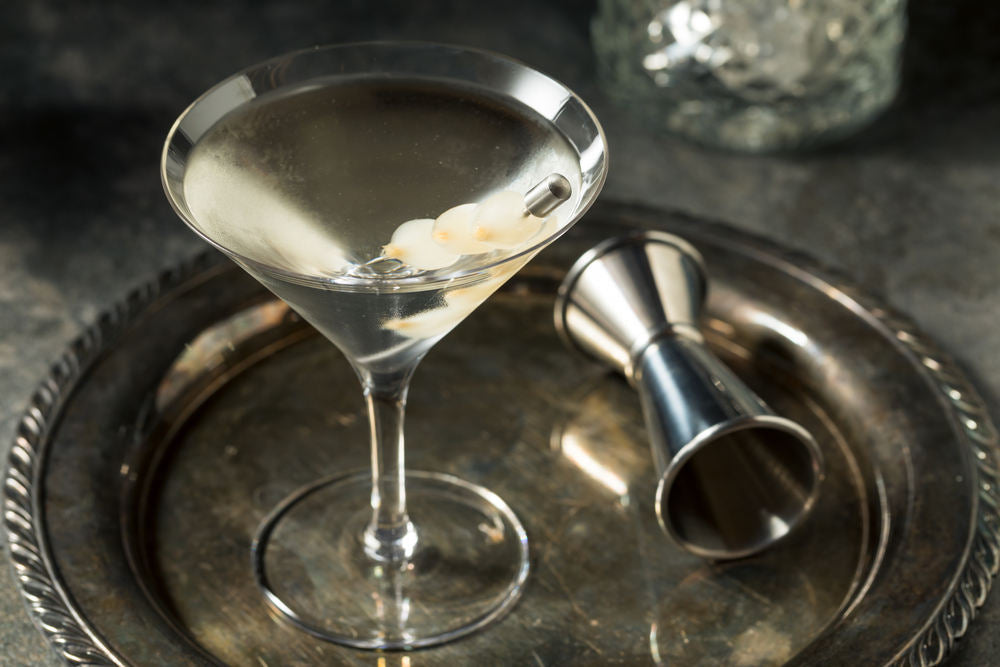 Boozy Dry Gin Gibson Martini with Cocktail Onions
