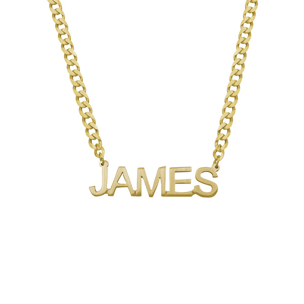 Boys Block Name Necklace with Curb Chain