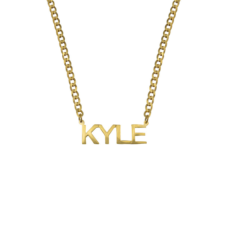 Girls Block Name Necklace with Curb Chain