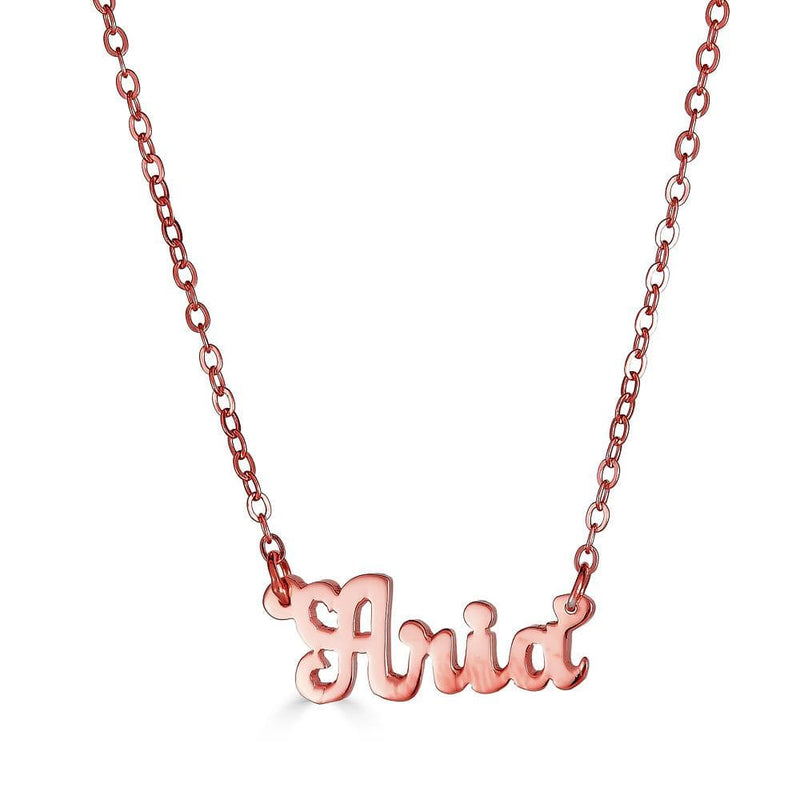 Ari&Lia 14K Name Necklace 14K Rose Gold 14K Script Mini Name Necklace NP90043-SCRIPT-14K-RG