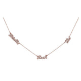 Ari&Lia 14K Name Necklace 14K Rose Gold 14K Script Mini Name Necklace With Cz's NP90043-SCRIPT-CZ-14K-RG