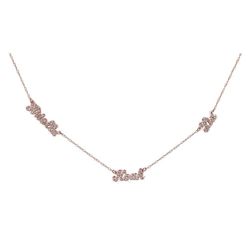 Ari&Lia 14K Name Necklace 14K Rose Gold 14K Script Mini Name Necklace With Diamonds NP90043-SCRIPT-Diam-14K-RG