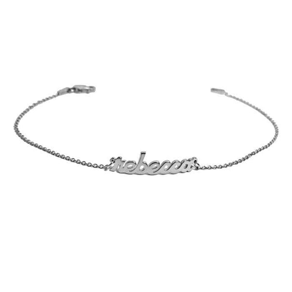 Ari&Lia 14K Bracelets 14K White Gold 14K Block Mini Name Bracelet NB90043-BLOCK-14K-WG