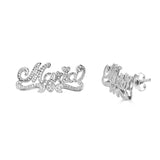 Ari&Lia 14K Earrings 14K White Gold 14K Double Plated Script Stud Name Earrings NE90594-14K-2-WG
