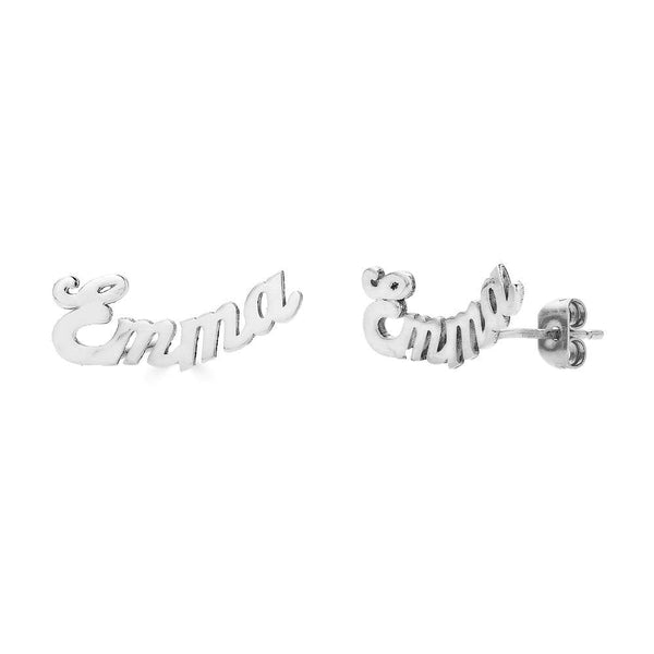 Ari&Lia 14K Earrings 14K White Gold 14K Mini Script Curved Post Earrings NE30539-CURVED-14K-WG