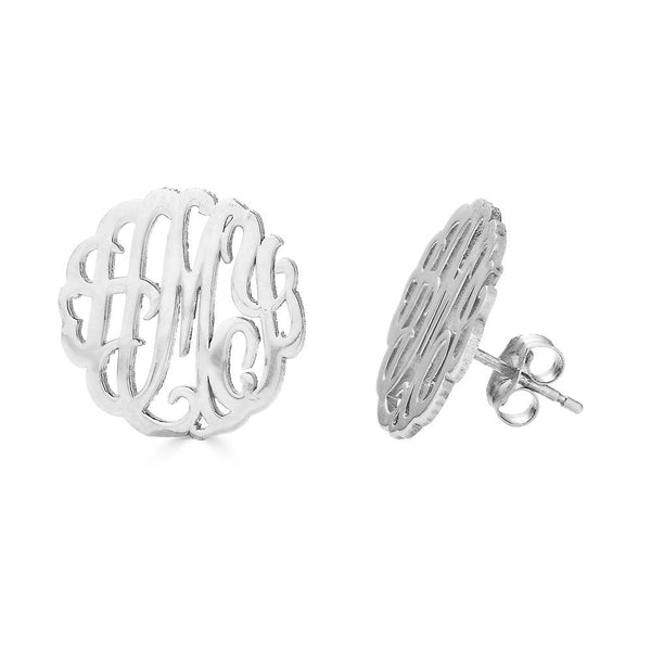 Ari&Lia 14K Earrings 14K White Gold 14K Three letter script monogram Stud earrings 509-14K-WG