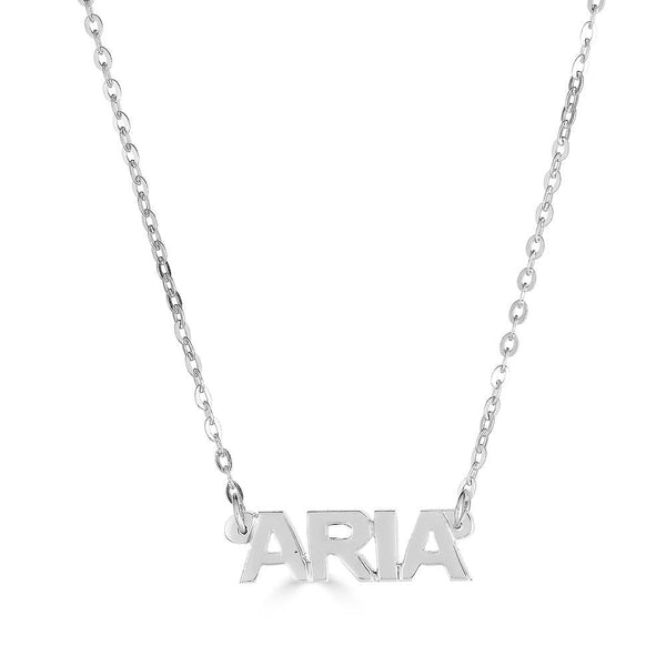 Ari&Lia 14K Kids Name Necklace 14K White Gold 14K Mini Kids Block Name Necklace NP90043-BLOCK-14K-WG
