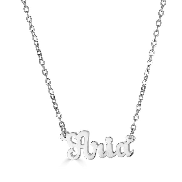 Ari&Lia 14K Kids Name Necklace 14K White Gold 14K Mini Kids Script Name Necklace NP90043-SCRIPT-14K-WG