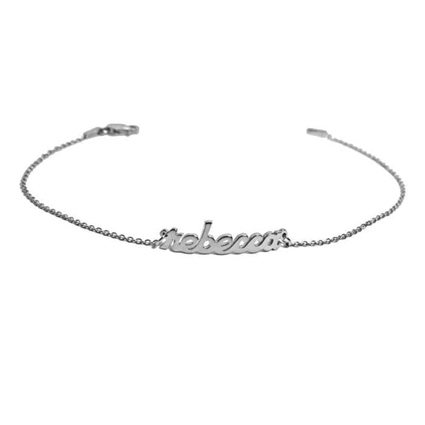 Ari&Lia 14K Kids Name Necklace 14K White Gold 14K Mini Script Kids Name Bracelet NB90043-SCRIPT-14K-WG
