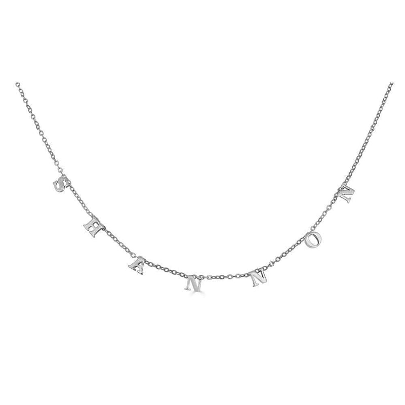 Ari&Lia 14K Name Necklace 14K White Gold 14K Block Spaced Out Name Necklace 5500-14K-WG