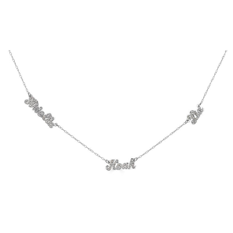 Ari&Lia 14K Name Necklace 14K White Gold 14K Script Mini Name Necklace With Cz's NP90043-SCRIPT-CZ-14K-WG