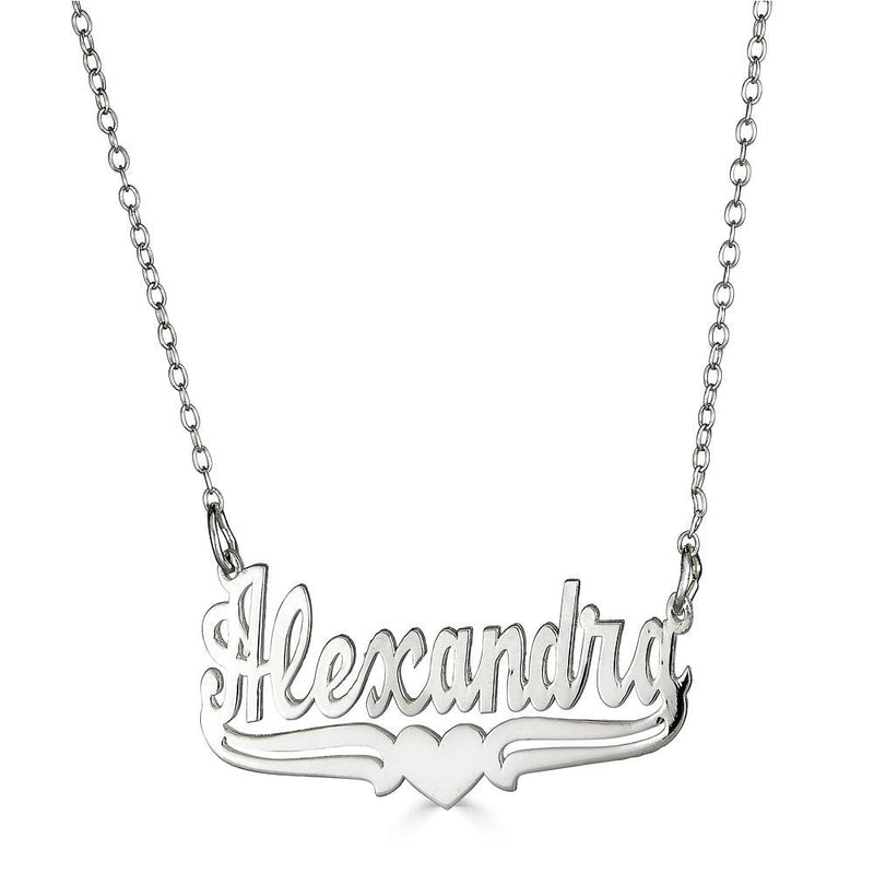 Ari&Lia 14K Name Necklace 14K White Gold 14K Single High Polish Name Necklace With Underline Heart NP90023-14K-WG