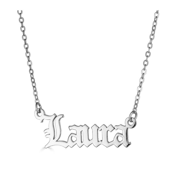 Ari&Lia 14K Name Necklace 14K White Gold 14K Single Plated Gothic Name Necklace NP30578-14K-WG