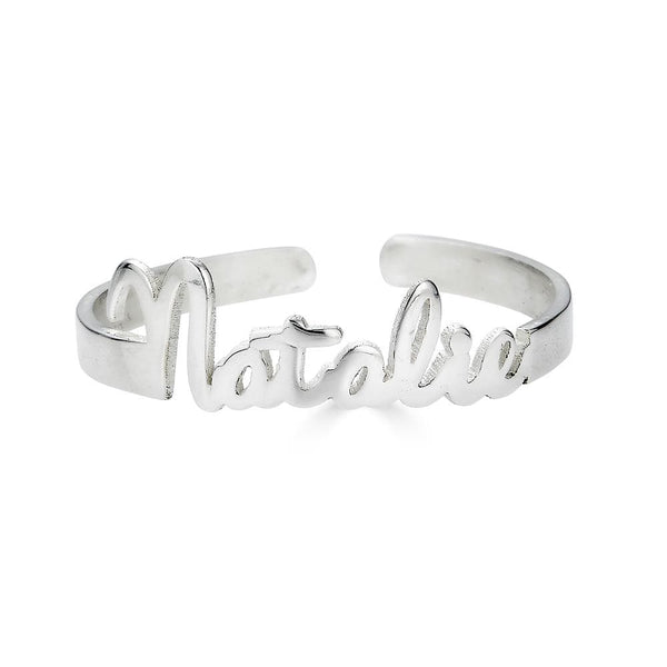 Ari&Lia 14K Name Rings 14K White Gold 14K Mini Script Name Ring With Open Back NR91689-14K-YG