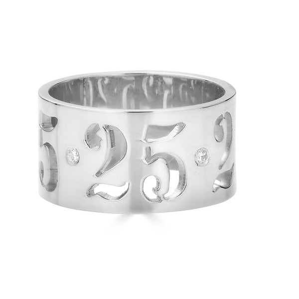 Ari&Lia 14K Name Rings 14K White Gold 14K Name Or Date Cut Out Ring 11017-14K-YG