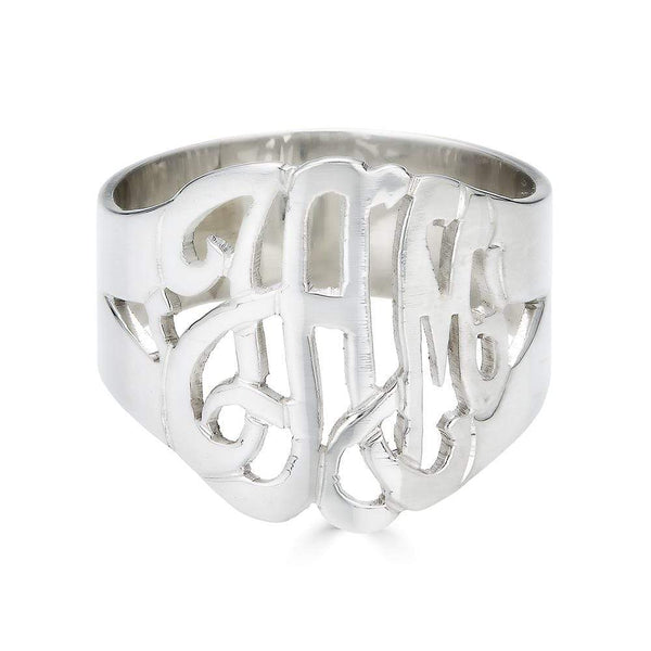 Ari&Lia 14K Name Rings 14K White Gold 14K Script Monogram Ring 1334-14K-WG