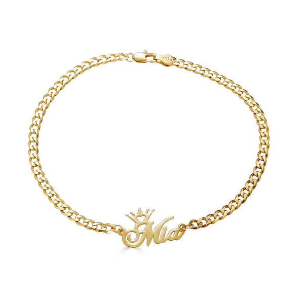 Ari&Lia 14K Bracelets 14K Yellow Gold 14K Crown Name Bracelet BRC30568-14K-YG