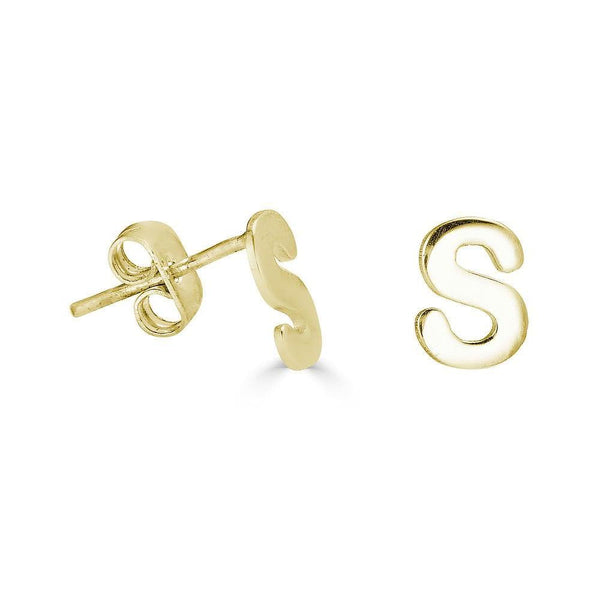 Ari&Lia 14K Earrings 14K Yellow Gold 14K Block letter Stud Earrings 6007-14K-YG