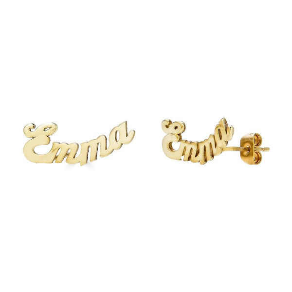 Ari&Lia 14K Earrings 14K Yellow Gold 14K Mini Script Curved Post Earrings NE30539-CURVED-14K-YG